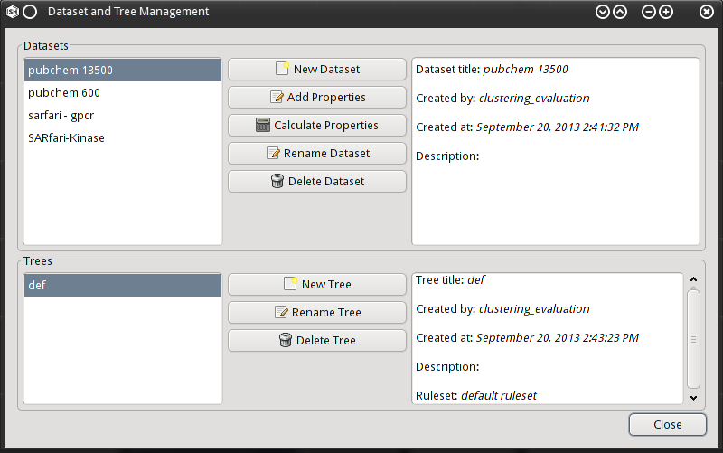 Dataset Management Dialog
